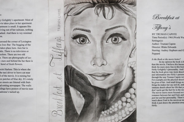 artwork about Breakfast at Tiffany's by a student
