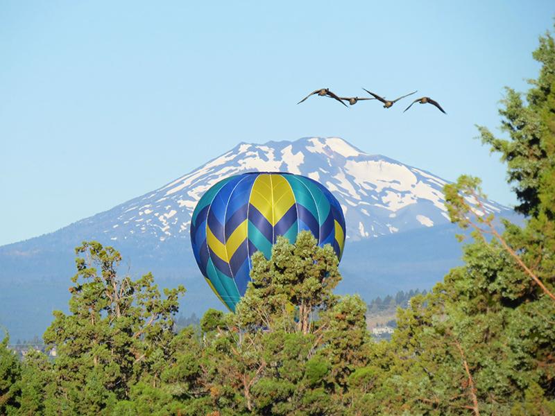 balloon and Mt Bachelor near Bend Oregon
