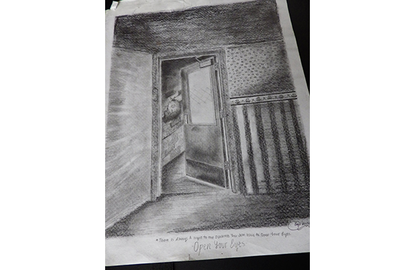 artwork of a door by a student at a therapeutic boarding school