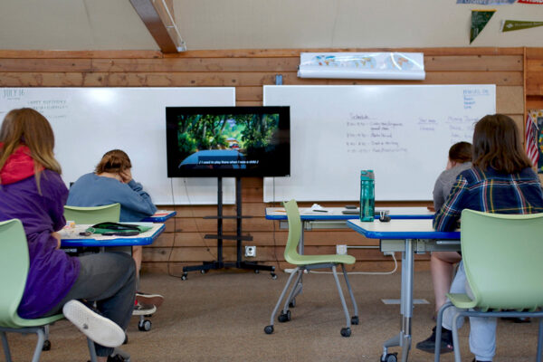 The school house has classroom, library, and STEM lab spaces.